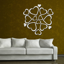 [Fundecor] diy 3D heart mirror wall stickers children room living room Kitchen bedroom Sticker home decor wall art decals mural(China)