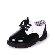Kids Gentleman Shoes 2017 New Spring Children Pu Leather Sneakers For Baby Boys Girls Casual Shoes England Style size 21~37(China)