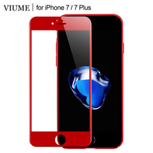 VIUME Cold Carving Premium New 3D 4D 9H Hard Full Cover Film Red Tempered Glass For iphone 7 7Plus Screen Protector Glass Case