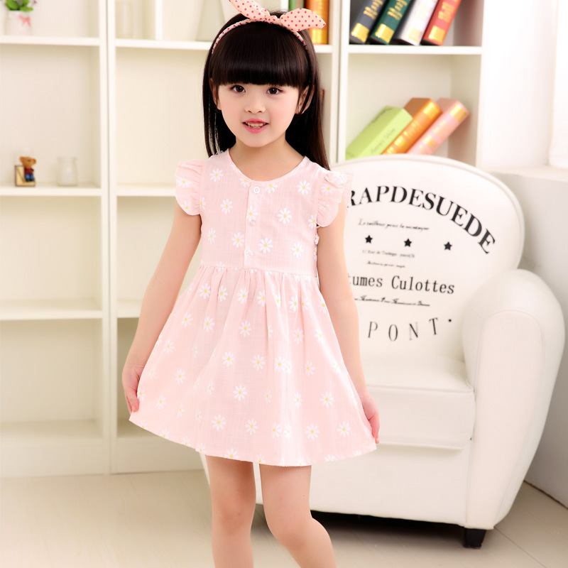 2-7 yrs summer in 2016 baby girl clothes flower princess dresses fashion loose cozy pink blue cute dressing flax <br><br>Aliexpress