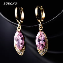 BUDONG Fashion Long Oval Drop Earing for Women Silver/Gold-Color Dangle Earring Pink CZ Zircon Crystal Wedding Jewelry XUE016