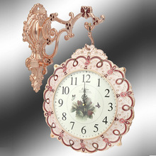 European Pastoral Style Double Face Wall Clock Vintage Resin Rose Clocks(China)