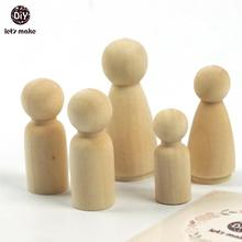 Let's Make 32PC Girl/Boy 35mm 43mm Each Type 8pc Wooden Peg Dolls Unfinished Wooden Large Family Peg Dolls Wooden DIY Crafts(China)