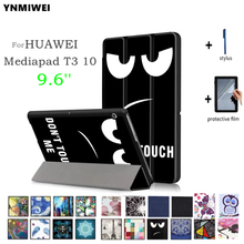 YNMIWEI Case For Huawei MediaPad T3 10 Tablet Stand Slim Cases For 9.6 inch Honor Play Pad 2 Cover Case AGS-L09 AGS-L03 +films