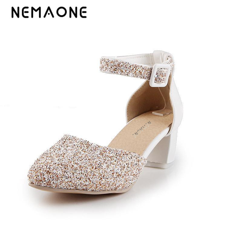 NEMAONE 2017 new arrive women shoes high heel ankle strap pumps women square heels round toe women office shoes<br>