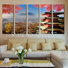 5 Panel Modern Wall Art Japanese Painting Landscape Fuji Mountain And Sensoji Temple Decorative Paintings For Living Room