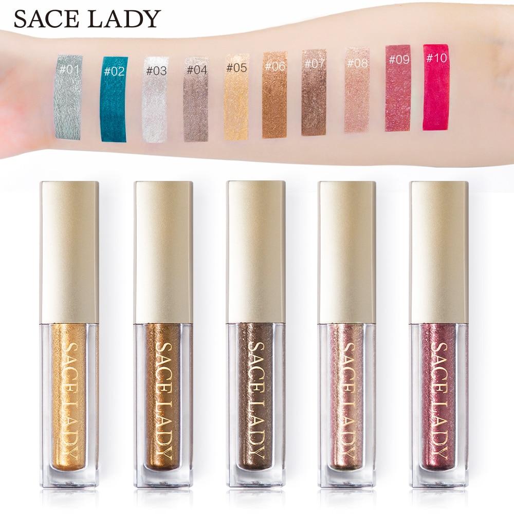 SACE LADY Shimmer Eyeshadow Liquid Makeup Glitter Eye Shadow Metals Illuminator  Glow Kit Make Up Highlighter Cream Cosmetic  142055deb64e