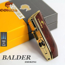 COHIBA metal cigar three jet flam torch lighter 5 colors(China)