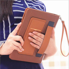 For new ipad 9.7 Luxury Leather Case for apple iPad 9.7 inch 2017 With Magnetic Auto Wake Up Sleep Hand lift rope A1822 A1823(China)