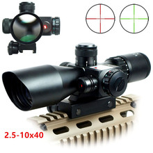 Tactical 2.5-10x40 Riflescope Green Red Dual Illuminated Rifle scope and Red Dot Laser Sight Hunting Scope Optical Sight caza