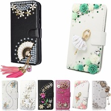Luxury Fashion Elegant Bling Diamond Rhinestone Leather Phone Protective Beautiful Crystal Cover For BlackBerry Leap(China)