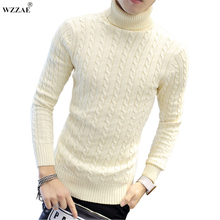 WZZAE 2017 New High Quality Brands Twist Sweater Knitting Winter Men's Turtleneck Cotton Sweater Jumpers Pullover Sweater Men(China)