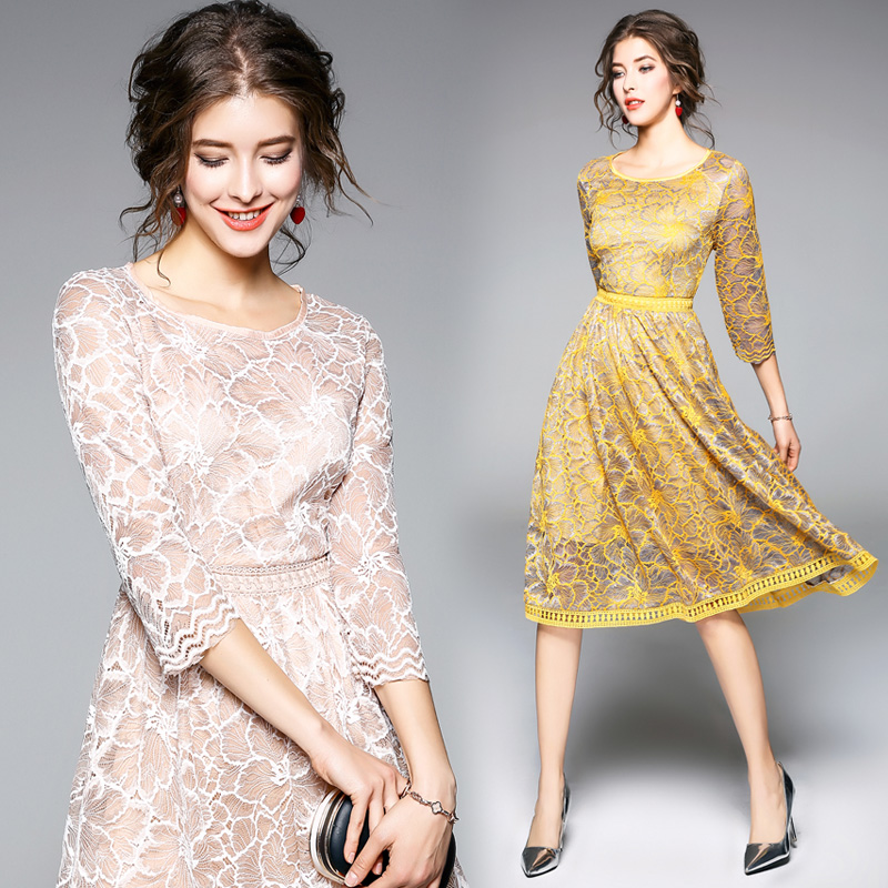Spring summer office lady elegant stitching fold lace dress o-neck collar slim sexy party dress princess dress temperament women
