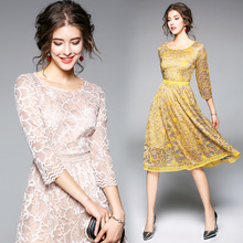 Buy Spring summer office lady elegant stitching fold lace dress o-neck collar slim sexy party dress princess dress temperament women for $23.55 in AliExpress store