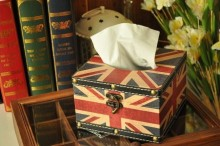 FREE SHIPPING Vintage Union Jack removable tissue box british style supplies paper handkerchief case napkin box 15X15X9.5CM(China)