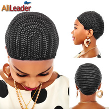 AliLeader Large Crochet Wig Cap Easy Sew In Cornrow Wig Cap For Making Wigs Stretching 52-66Cm Super Ealstic Cornrow Cap Black(China)