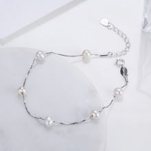Fashion Sample Style 100% 925 Sterling Silver Bracelet Freshwater Pearl Temperament Bracelet for Women Expensive Fine Jewelry(China)