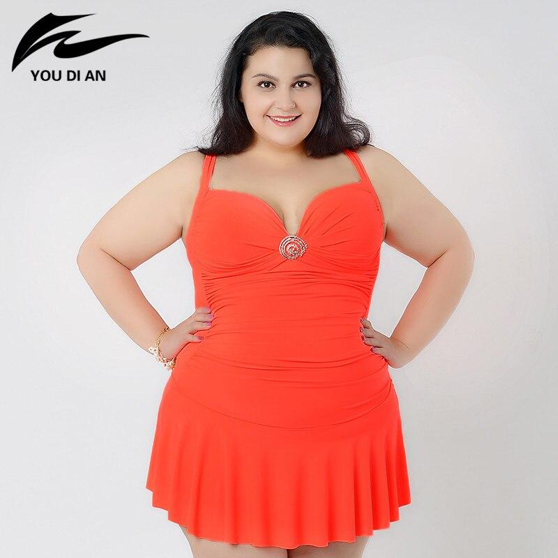 swimsuit 2017 Sexy plus size One Piece Swimsuit bathing dress Women one piece Swimwear big plus size lady beach dress<br>