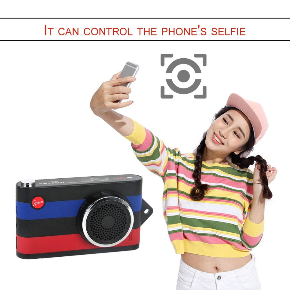 Portable Mini Cute Camera Style Bluetooth Wireless Speaker Selfie Hands-free Power Bank Function Gift for Girls