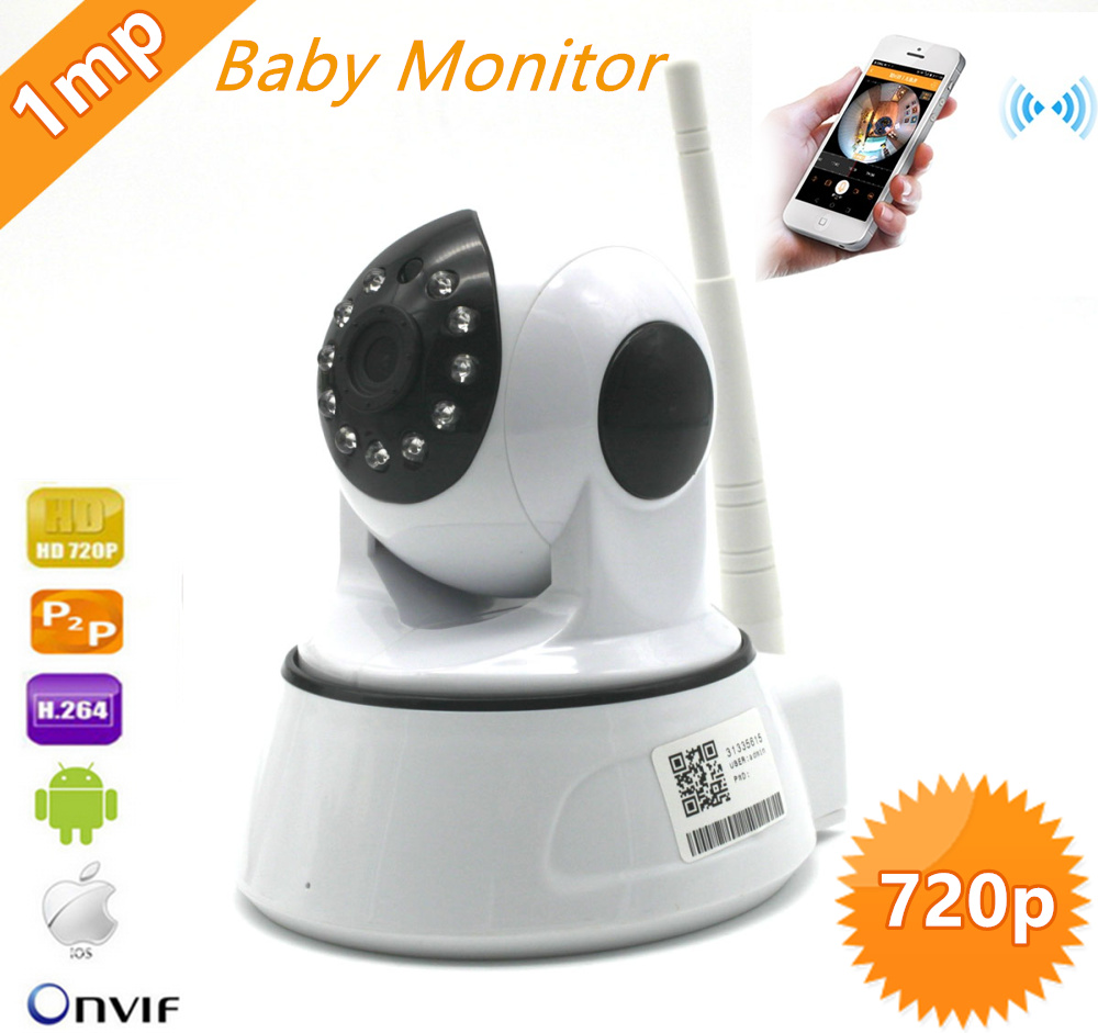 720P Wireless 802.11b/g/n ONVIF WIFI IP Camera 1.0mp IR Home Security Camera CCTV Network IP Cam Private mould hot-selling<br>