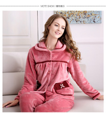 New winter women and men flannel pajamas set long sleeve long trousers coral fleece warm pyjamas couple home clothing(China)