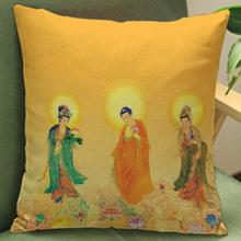45*45 Cm Creative Religious Buddhist Figures Printed Soft Short Plush Decorative Pillow Cushion Factory Direct Sales