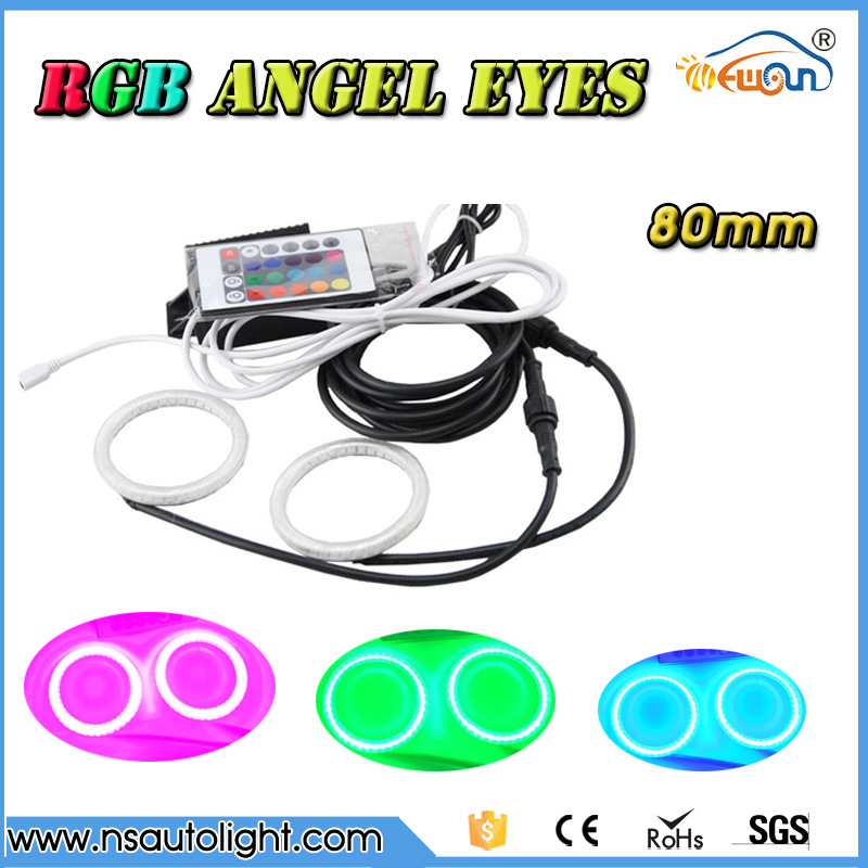 Super bright  2 pieces Angel Eyes 80mm 2835 smd  RGB remote control led circle ring  with cover DRL  Halo Rings Kit car styling<br>