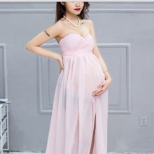 2017 Maternity Dress Pregnant Women white pink Photo Shoot Split Front Chiffon blue Dresses For Maternity Photography Props M679