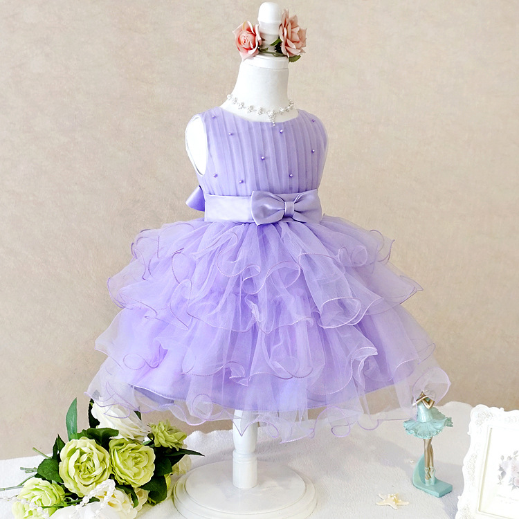 summer girl a birthday present Europe and the United States girls holiday dress nail bead butterfly knot dress cake girls<br>