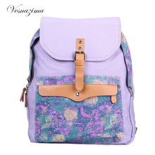 VZ bag ladies yellow backpack blue canvas backpack for girl bags for women 2017 school bags floral backpacks school book bag Z82