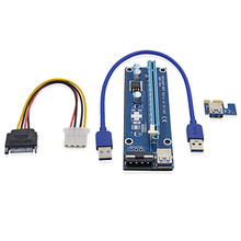 High Quality VER006 0.3M PCI Express PCI-E 1X to 16X Riser Card Extender with SATA to 4 Pin IDE Power Supply / USB 3.0 Cable