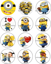 12pcs/lot Despicable me Cartoon Pig girls gift 18mm Snap Button Jewelry Glass Charms Fit DIY Bracelet Snaps Jewelry BP013(China)
