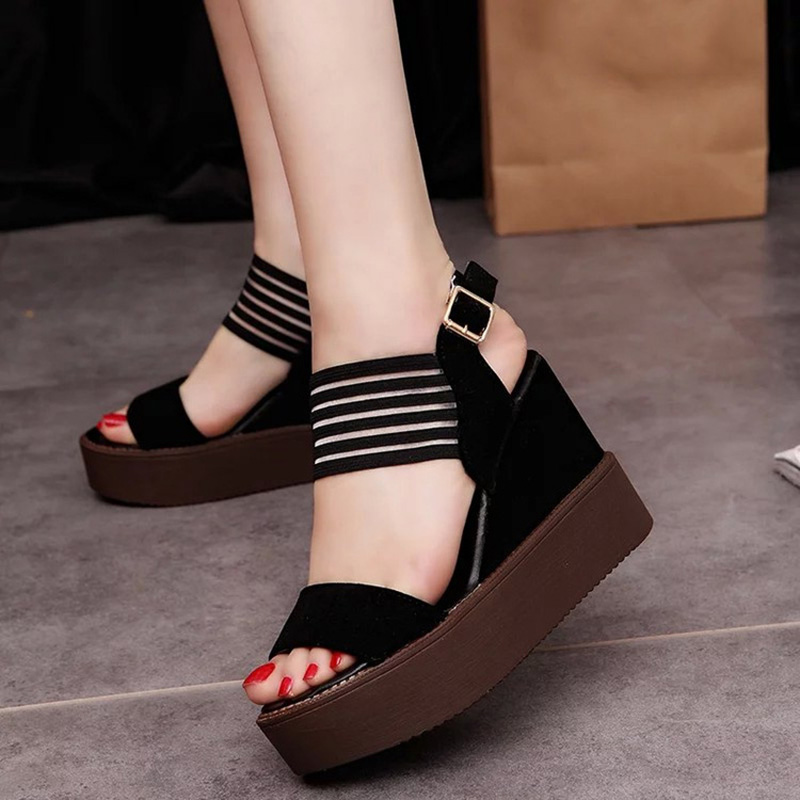 Fashion Women Sandals Summer Wedges Womens Sandals Platform Ankle Strap Open Toe High-heeled Women Shoes FemaleMujer Size 35-39<br><br>Aliexpress