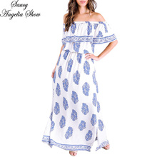 SAUCY ANGELIA Women Summer Dress 2017 New Sexy Print Wrap Off Shoulder Vestidos Femme Long Maxi Bodycon Waist Party Dresses XXL(China)