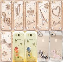 Fashion Rhinestone PC phone Cover For Apple iPhone 4 4S 5 5S SE 6 6S 6 plus 6S plus Diamond Clear Crystal Cell Phone Case(China)