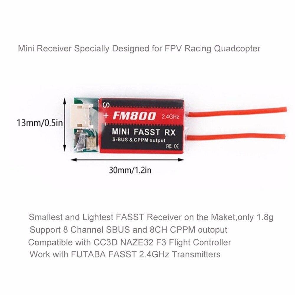 Mini Futaba FM800 FASST SBUS CPPM RX 8CH Receiver For Futaba FPV QAV-X Racing Quadcopter Indoor Mini Drone Tiny TQ90 90-120 <br>