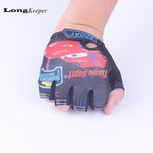 LongKeeper Sport Gloves For Kids Semi-finger Children Mittens Cotton Car Pattern Boys Girls fingerless Gloves for Outdoor Sport(China)