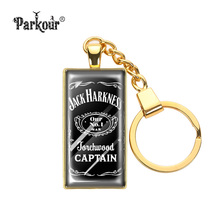 Jack Daniel's No 7 Whiskey Keychain Glass Cabochon No 7 Jack Daniel's Wine Key Chains Glass Dome Key Ring Jewelry Key Holder(China)