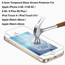 New Tempered Glass Screen Protector Case For Apple iPhone 4 4S 5 5C 5S 6 6S Plus iPod Touch 4 5 6 For Apple Watch 38mm 42mm