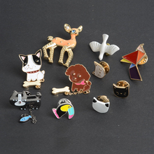 2016 Cartoon Birds Animal Badge Shirt Collar Pin Brooch Lovely cute cartoon Lapel Pin small mini button brooches for women
