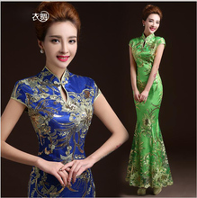 Mermaid Tail Asian style Short Sleeve Fashion Red Lace Bride Wedding Qipao Long Cheongsam Chinese Traditional Dress Slim Retro