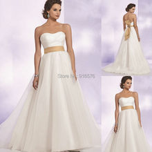 Organza Glamorous Chapel Train 2015 New Wedding Dress With Satin Belt Bow Detail And Rhinestone Pin At Back