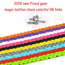 2015 new Fixed gear track bike bicycle chain single speed chain magic button chain colorful 98 links CZC004(China)