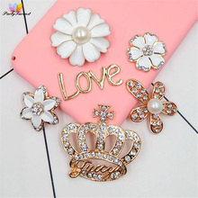 PF Crown Flower Rhinestones Flatback Strass Glue on Phone Case Accessories Adhesive Rhinestone Applique Jewelry Ornament TZ004(China)