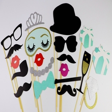 23pcs Photo Booth Props Mr Mrs Just Married Funny mask birthday kid gift Wedding banner Decor Bridal Shower Party favor Supplies