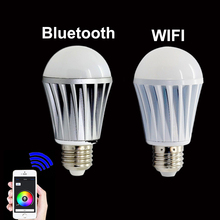 LED Smart Light Bulb Bluetooth WiFi Controlled Wireless LED 7W E27 RGBW Warm White Magic LED Bulb Lamp