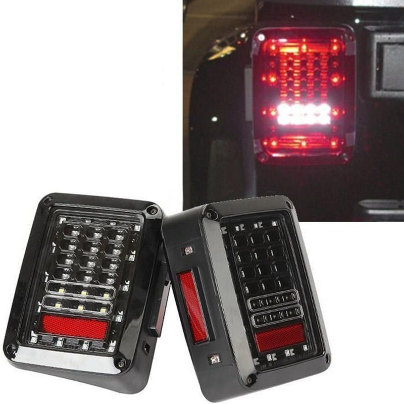 LED Tail Lights for JK 2007-2015 Jeep Wrangler with Running Brake Backup Reverse Turning Signal Light Tail Lamp Assembly<br><br>Aliexpress