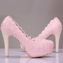 Free Shipping Pink Lace Flower Wedding Shoes Cheap Bridesmaid Shoes Woman Formal Dress Shoes Wedding Pumps
