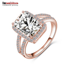 LZESHINE Brand Big Rectangle Cut Princess Ring Gold/ Silver Color Clear AAA Cubic Zircon Ring Western Style aneis CRI0014