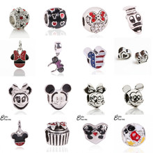 Free Shipping 1Pcs Big Hole Silver Beads Cute Mickey Charms Fits Diy Pandora Charms Bracelet Jewelry Wholesale Beads